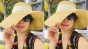劉嘉玲曬優雅自拍照+墨鏡遮面戴草帽度假風十足